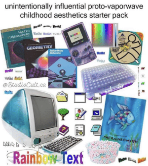 Tumblr, Blog, and Fish: unintentionally influential proto-vaporwave  childhood aesthetics starter pack  Algebra WordArtworda, Wordart  Trigonomery WordArt WordArt ord  GAME B  GAMEBO o  GEOMETRY  VUnUurs  Addison-Wesley  Mathematics  FREE!  WordArt  WordArt  WordArtWondA  W  WardArt Mardhst  SPacEMag  W  @StudiaCult,co  MARCUS PSTE  THE RAINBOW FISH  Rainbew Text the-outrun:  They forgot bus seats