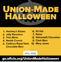 America, Candy, and Halloween: UNION MADE  HALLOWEEN  6. Kit Kat  1. Hershey's Kisses  7. Rolos  2. Jolly Ranchers  8. Ghirardelli Chocolate  3. Thin Mints  9. Clark Bars  4. Nestlé Crunch  5. Cadbury Royal Dark 10. Mary Janes  Chocolate Bars  AFL-CIO  go aficio.org/UnionMadeHalloween If you want your Halloween to be all treats and no tricks, make sure all your candy is union-made in America. http://go.aflcio.org/UnionmadeHalloween