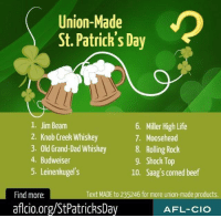 What is your favorite Union Made St. Patrick's Day product?: Union-Made  St. Patrick's Day  1. Jim Beam  2. Knob Creek Whiskey  6. Miller High Life  7. Moosehead  Old Grand-ad Whishey Rolling ock  4. Budweiser  8  9. Shock Top  10. Saag's corned beef  5. Leinenkugels  Find more:  Text MADE to 235246 for more union-made products.  aflcio.org/StPatricksDay  AFL-CIO What is your favorite Union Made St. Patrick's Day product?