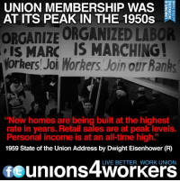 "Connect the dots: Union membership built the Middle Class.: UNION MEMBERSHIP WAS  ODC  AT ITS PEAK IN THE 1950s  ZO  ORGANIZE ORGANILED LABOR  IS MARC IS MARCHING!  Workers Joi Morhers Join our Banhs  ""New homes are being built at the highest  rate in years. Retail sales are at peak levels.  Personal income is at an all-time high""  1959 State of the Union Address by Dwight Eisenhower (R)  LIVE BETTER. WORK UNION.  unions 4Workers Connect the dots: Union membership built the Middle Class."