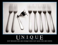 Mean, You, and Just: UNIQUE  JUST BECAUSE YOU ARE UNIQUE DOES NOT MEAN YOU ARE USEFUL Me, when I say Im unique