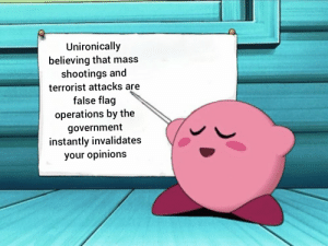 me irl: Unironically  believing that mass  shootings and  terrorist attacks are  false flag  operations by the  government  instantly invalidates  your opinions me irl