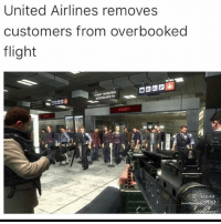 Funny, Lmao, and Break: United Airlines removes  customers from overbooked  flight Lmao untied is never catching a break
