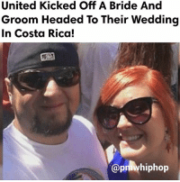 """Memes, Costa Rica, and Flight: United Kicked Off A Bride And  Groom Headed To Their Wedding  In Costa Rica!  @pmwhiphop Michael Hohl, the groom, said he and his fiancee, Amber Maxwell, were the last to board the plane. """"According to Hohl, they noticed a man was spread across their row napping when they approached their seats, 24 B and C. """"Not wanting to wake the man, Hohl said they decided to sit three rows up in seats 21 B and C. He said they didn't think it would matter because the flight was half full with multiple empty rows... things went south quickly from then on - FULL VIDEO & STORY AT PMWHIPHOP.COM LINK IN BIO"""