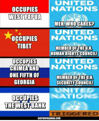Dank, Georgia, and 🤖: UNITED  OCCUPIES  NATIONS  WEST PAPUA  MEHAWHOCARES?  NITED  OCCUPIES  NATIONS  TIBET  MEMBER OF THE UN,  HUMAN RIGHTS COUNCIL!  UNITED  OCCUPIES  NATIONS  CRIMEA AND  ONE FIFTH OF  MEMBER OF THE UIN  GEORGIA  SECURITY COUNCIL!  OCCUPIES  THE WEST BANK  DISPROPAGANDA.COM Dispropaganda.com