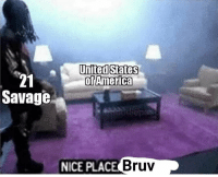 America, Savage, and United: United States  of America  21  Savage  NICE PLAC  E Bruv 💀💀💀