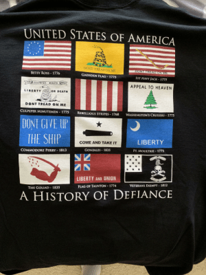 This came in the mail: UNITED STATES OF AMERICA  DONT TREAD ON ME  DONT TREAD ON ME  BETSY ROSS- 1776  GADSDEN FLAG 1775  1ST NAVY JACK 1775  THE CULPEPER  MINUTE MEN  APPEAL TO HEAVEN  LIBERTY  OR DEATH  DONT TREAD ON ME  CULPEPER MINUTEMEN 1775  REBELLIOUS STRIPES 1768  WASHINGTON'S CRUISERS 1775  DONI GIVE UP  THE SHIP  LIBERTY  COME AND TAKE IT  GONZALES 1835  FT. MOULTRIE 1775  COMMODORE PERRY 1813  DON T TRLAÐ ON, ME  LIBERTY AND UNION  TIIY WILL bt DONE  VETERANS EXEMPT 1812  1774  FLAG OF TAUNTON  THE GOLIAD 1835  A HISTORY OF DEFIANCE This came in the mail