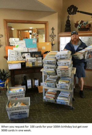 More than expected: UNITED STATES  UNITED STATES  POSTAL SERVICE  When you request for 100 cards for your 100th birthday but get over  3000 cards in one week. More than expected