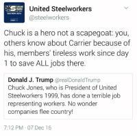 Memes, Heroes, and 🤖: United Steelworkers  ELECTION 2016  steelworkers  Chuck is a hero not a scapegoat: you,  others know about Carrier because of  his, members' tireless work since day  1 to save ALL jobs there.  Donald J. Trump  arealDonald Trump  Chuck Jones, who is President of United  Steelworkers 1999, has done a terrible job  representing workers. No wonder  companies flee country!  7:12 PM 07 Dec 16 Stand together