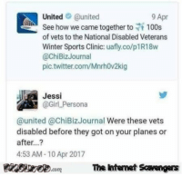 Friday, Funny, and Memes: Unitedaunited  9 Apr  See how we came together to f 100s  of vets to the National Disabled Veterans  Winter Sports Clinic: uafly.co/p1R18w  @chiBizJournal  pic.twitter.com/Mnrh0v2kig  Jessi  @GirL Persona  @united @ChiBizJournal Were these vets  disabled before they got on your planes or  after...?  4:53 AM-10 Apr 2017  PinsivecomThe Iintemet Scavengers <p>Jocular Friday memes  Our funny daily picture dump  PMSLweb </p>