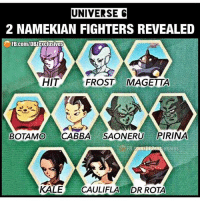Well then.. 💥💥 {Creds @dbz_exclusives } db dragonball dbz dragonballz dbs dragonballsuper dbgt dragonballgt dbzforlife dbzcollection dbislife shenron goku vegeta trunks piccolo gohan goten kale caulifla androids broly gogeta vegito yamcha frieza buu masterroshi gods black: UNIVERSE  2 NAMEKIAN FIGHTERS REVEALED  FB.COM/DBZexclusives  HIT  FROST MAGETTA  BOTAMO CABBA SAONERU PIRINA  KALE CAULIFLA DR ROTA Well then.. 💥💥 {Creds @dbz_exclusives } db dragonball dbz dragonballz dbs dragonballsuper dbgt dragonballgt dbzforlife dbzcollection dbislife shenron goku vegeta trunks piccolo gohan goten kale caulifla androids broly gogeta vegito yamcha frieza buu masterroshi gods black