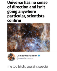 Bitch, Universe, and You: Universe has no sense  of direction and isn't  going anywhere  particular, scientists  confrm  Demetrius Harmon  @meechonmars  me too bitch, you aint special