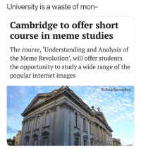 Internet, Meme, and Memes: University is a waste of mon-  Cambridge to offer short  course in meme studies  The course, 'Understanding and Analysis of  the Meme Revolution', will offer students  the opportunity to study a wide range of the  popular internet images  IG:PolarSaurus Rex We'd all master this course without even trying