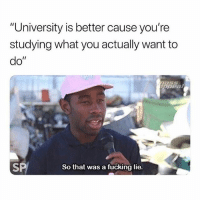 "In other news you'll be super prepared for the job that you'll never get hired for 💅🏼🙋🏽📚🤓: University is better cause you're  studying what you actually want to  do""  ppea  SP  So that was a fucking lie. In other news you'll be super prepared for the job that you'll never get hired for 💅🏼🙋🏽📚🤓"
