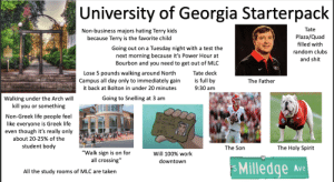 "Anaconda, Life, and On a Tuesday: University of Georgia Starterpack  Tate  Plaza/Quad  filled with  random clubs  and shit  Non-business majors hating Terry kids  because Terry is the favorite child  Going out on a Tuesday night with a test the  next morning because it's Power Hour at  Bourbon and you need to get out of MLO  Lose 5 pounds walking around North Tate deck  Campus all day only to immediately gain is full by  9:30 am  The Father  it back at Bolton in under 20 minutes  Going to Snelling at 3 am  Walking under the Arch will  kill you or something  Non-Greek life people feel  like everyone is Greek life  even though it's really only  about 20-25% of the  student body  so Drink  1 指1  ye s  The Son  The Holy Spirit  ""Walk sign is on for  all crossing""  Will 100% work  downtown  s Milledge Ave  All the study rooms of MLC are taken University of Georgia Starterpack"