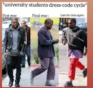 """Dress, Class, and Code: """"university students dress-code cycle*  Late for class again:  Final year:  First year"""