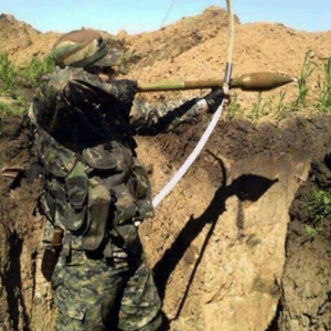 Unknown solider improvising weapons to save his live, (colorized,1940): Unknown solider improvising weapons to save his live, (colorized,1940)