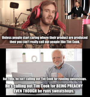 I think Felix missed the point of Ricky Gervais's speech: Unless people start caring where their product are produced  then you can't really call out people like Tim Cook.  But Felix, he isn't calling out Tim Cook for running sweatshops.  He's calling out Tim Cook for BEING PREACHY  EVEN THOUGH he runs sweatshops. I think Felix missed the point of Ricky Gervais's speech