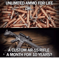 Life, Memes, and Ar 15: UNLIMITED AMMO FOR LIFE  A CUSTOM AR-15 RIFLE  A MONTH FOR 10 YEARS?