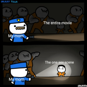 Every fricking time: UNLUCKY FELLA  The entire movie  My mom  The one sex scene  My mom  SRGRAFO Every fricking time
