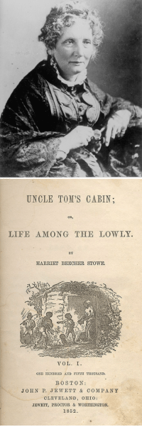 "Abraham Lincoln, Alive, and Life: UNOLE TOM'S CABIN  OB,  LIFE AMONG THE LOWLY.  BY  HARRIET BEECHER STOWE.  VOL. I  ONE HUNDRED AND FIFTH THOUSAND.  BOST O N:  JOHN P. JEWETT & COMPANY  CLEVELAND, OHIO:  JEWETT, PROCTOR & WORTHINGTON.  1852. <p><a href=""http://todayinhistory.tumblr.com/post/120797926895/june-5th-1851-uncle-toms-cabin-begins"" class=""tumblr_blog"">todayinhistory</a>:</p>  <blockquote><h2><b>June 5th 1851: <i>Uncle Tom's Cabin</i> begins publication</b></h2><p><small>On this day in 1851, the first installment of Harriet Beecher Stowe's <i>Uncle Tom's Cabin</i> appeared in abolitionist newspaper the <i>National Era, </i>beginning a serial which lasted for forty weeks. <i>Uncle Tom's  Cabin</i> tells the story of a black slave and recounts the harsh reality  of his enslavement. Stowe was an ardent advocate of the abolition of  slavery, and wrote the novel in response to the passage of the  controversial 1850 Fugitive Slave Act which was part of the Compromise  of 1850. The Act ordered Northern citizens to assist in the return of  runaway slaves from the South, thus forcing the generally anti-slavery  North to become complicit in the continuance of the 'peculiar  institution'. The popular discontent over the slavery issue helped  make <i>Uncle Tom's Cabin</i> the best-selling novel of the nineteenth  century and saw its translation into sixty languages. The novel helped  keep the flames of anti-slavery sentiment alive, and is therefore  sometimes attributed with helping start the American Civil War. Whilst  still hailed as a great anti-slavery work of its day, the novel falls  short of modern expectations with its stereotypical portrayal of  African-Americans.</small></p><blockquote><b><i><small>""So you're the little woman who wrote the book that started this great war""</small></i></b><br/><small>- what, according to legend, Abraham Lincoln said upon meeting Stowe in 1862</small></blockquote></blockquote>"