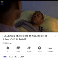 Memes, 🤖, and Iea: UNREGI  STERED  FULL MOVIE The Strange Things About The  Johnson's FULL MOVIE  374K views  3K  869  Share  Add to  Save  M, Mr AI IEA MI ATIC I'm so gonna regret this