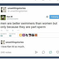"They're ""semen"" haha get it: unsettlingstories  unsettlingstories  8 Following  Ken M  @horsey surprise  men are better swimmers than women but  only because they are part sperm  RETWEETS FAVORITES  65  53  unsettlingstories  I love Ken M so much.  240 notes They're ""semen"" haha get it"