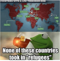 """Dank, Bahamas, and Costa Rica: UNT  WITH A LOW TERR  Iceland  Poland  Liechtenstein  Bahamas Slovenia  Japan  Malta  Costa Rica  elles  None of these countries  took in refugees """"Poland"""" """"Iceland"""""""