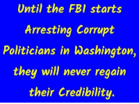 credibility: Until the FBI starts  Arresting Corrupt  Politicians in Washington,  they will never  reaain  their Credibility