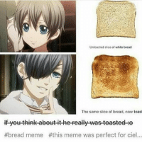 Memes, 🤖, and Bread: Untoasted sice of white broad  The same slice of bread, now toast  yet think abetttit he peally was teasted-He  bread meme #this meme was perfect for ciel... :- . . . . . .
