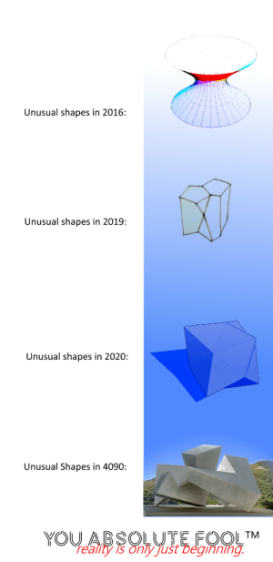 Happy New Year.: Unusual shapes in 2016:  Unusual shapes in 2019:  Unusual shapes in 2020:  Unusual Shapes in 4090:  YOU ABSOLUTE FOOL™  re'ality is onty Just Deginning. Happy New Year.
