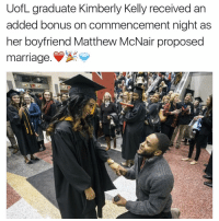 Marriage, Memes, and 🤖: UofL graduate Kimberly Kelly received an  added bonus on commencement night as  her boyfriend Matthew McNair proposed  marriage.