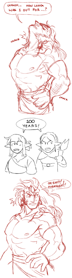 kingly0k:  a rare moment of hydrated ganon: UOGHH,  How LoNG  WAS I OUT FoR..  CRACK  CRACK   100  YEARS   OH SHIT! I  OVERSLEPT kingly0k:  a rare moment of hydrated ganon
