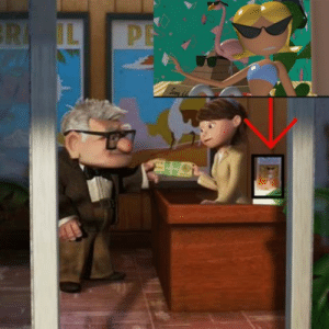"""UP (2009) When Up's Carl visits a travel agent, one of the framed brochures on her desk features a character from """"Knick Knack,"""" a Pixar short about the secret life of travel souvenirs that the company made before Toy Story.: UP (2009) When Up's Carl visits a travel agent, one of the framed brochures on her desk features a character from """"Knick Knack,"""" a Pixar short about the secret life of travel souvenirs that the company made before Toy Story."""