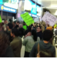 """Memes, Los Angeles, and 🤖: """"Up up with liberation, Down down with deportations!"""" Over 200 people continue to demonstrate in support of refugees and immigrants at the Los Angeles International Airport. ✊👊💯 NoMuslimRegistry NoBanNoWall Muslim NoMuslimBan Muslim NotMyPresident DonaldTrump DumpTrump trump HereToStay"""