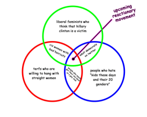 "Bad, Feminism, and Hillary Clinton: upcoming  reactionary  movement  liberal feminists who  think that hillary  clinton is a victim  cis  women  bad haircuts  ts  lt democra  itter  with  on  terfs who are  willing to hang with %  people who hate  straight women  ""k  ids these days  c2  and their 20  genders"" tariqah:  thegestianpoet: heres my political prediction for mainstream feminism in the year 2021  No offense but the liberal feminists and TERFs willing to hang out with straight woman is the same category"