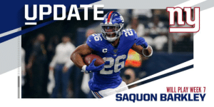 .@Giants RB Saquon Barkley removed from injury report, will play vs. @AZCardinals. (via @KimJonesSports) https://t.co/csrrZnlsyc: UPDATE  26  WILL PLAY WEEK 7  SAQUON BARKLEY .@Giants RB Saquon Barkley removed from injury report, will play vs. @AZCardinals. (via @KimJonesSports) https://t.co/csrrZnlsyc