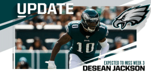 Eagles WR DeSean Jackson expected to miss Week 3 with a groin injury. (via @TomPelissero) https://t.co/4fx6N32KVL: UPDATE  EACLES  EXPECTED TO MISS WEEK 3 Eagles WR DeSean Jackson expected to miss Week 3 with a groin injury. (via @TomPelissero) https://t.co/4fx6N32KVL