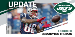 .@Patriots trading WR Demaryius Thomas to @nyjets for 2021 sixth-round pick. (via @MikeGarafolo) https://t.co/zGzvP854qr: UPDATE  NEW YORK  JETS  JETS TRADING FOR .@Patriots trading WR Demaryius Thomas to @nyjets for 2021 sixth-round pick. (via @MikeGarafolo) https://t.co/zGzvP854qr