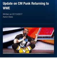 "Many wrestling fans believe that, one day, CM Punk will return to WWE. Punk was recently asked by ESPN in Chicago about if he missed wrestling to which he replied ""not at all"". Punk did confirm that the lawsuit with WWE's Doctor Chris Amann was still going on. Punk also said that he hasn't talked to UFC President Dana White for a while, that he wants to fight for UFC again and he will find out his next opponent in the next two months. Picture Credit: Wrestling Rumors App Information Credit: Wrestling Rumors App wwe raw wrestlemania nxt wrestlemania34 wwenetwork wrestling awesome banter instagram wwesupercard supercard wweuk wwelive wweuniverse cmpunk ufc danawhite espn tripleh vincemcmahon: Update on CM Punk Returning to  WWE  Written on 07/13/2017  Aaron Sass Many wrestling fans believe that, one day, CM Punk will return to WWE. Punk was recently asked by ESPN in Chicago about if he missed wrestling to which he replied ""not at all"". Punk did confirm that the lawsuit with WWE's Doctor Chris Amann was still going on. Punk also said that he hasn't talked to UFC President Dana White for a while, that he wants to fight for UFC again and he will find out his next opponent in the next two months. Picture Credit: Wrestling Rumors App Information Credit: Wrestling Rumors App wwe raw wrestlemania nxt wrestlemania34 wwenetwork wrestling awesome banter instagram wwesupercard supercard wweuk wwelive wweuniverse cmpunk ufc danawhite espn tripleh vincemcmahon"