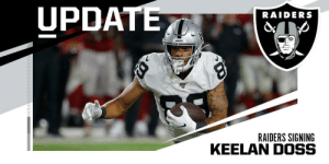 .@Raiders bringing back rookie WR Keelan Doss, signing him off the Jaguars practice squad. (via @MikeGarafolo) https://t.co/AqdyYGjUln: UPDATE  RAIDERS  RADS  RAIDERS SIGNING .@Raiders bringing back rookie WR Keelan Doss, signing him off the Jaguars practice squad. (via @MikeGarafolo) https://t.co/AqdyYGjUln