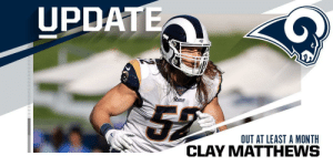 Memes, Rams, and 🤖: UPDATE  Rams  OUT AT LEAST A MONTH Rams LB Clay Matthews out at least a month with a broken jaw. https://t.co/PDh0tFP3RC
