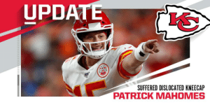 Patrick Mahomes suffered dislocated kneecap but no significant additional damage, expected to return this season. (via @RapSheet + @JamesPalmerTV) #ChiefsKingdom https://t.co/bI2hmOCRA0: UPDATE  SUFFERED DISLOCATED KNEECAP  PATRICK MAHOMES Patrick Mahomes suffered dislocated kneecap but no significant additional damage, expected to return this season. (via @RapSheet + @JamesPalmerTV) #ChiefsKingdom https://t.co/bI2hmOCRA0