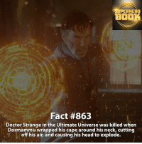Anime, Doctor, and Facts: UPERHERO  BO  Fact #863  Doctor Strange in the Ultimate Universe was killed when  Dormammu wrapped his cape around his neck, cutting  off his air, and causing his head to explode. How many times have you watched the movie Doctor Strange? - marvel superhero facts marvelfacts supervillain rocketracoon spiderman marveluniverse anime marvelstudios xmen jeremyrenner avengers comics mcu marvelart marvelcomics teamcap civilwar teamironman ironman avengers guardiansofthegalaxy chrispratt captainamerica doctorstrange stanlee captainamericacivilwar ===================================