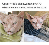 Waiting In Line: Upper middle class women over 70  when they are waiting in line at the store