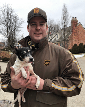 ups-dogs:Missy, a foster dog with Midwest Small Breed Rescue, from Grosse Pointe, MI loves her UPS savior 💛🐶💛: ups-dogs:Missy, a foster dog with Midwest Small Breed Rescue, from Grosse Pointe, MI loves her UPS savior 💛🐶💛