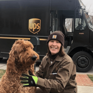 ups-dogs:Teddy is a seven year old goldendoodle He can sense when the UPS truck is on its way He loves Melissa! I had her pose with Teddy It's very exciting around here to receive packages!Leslie FoxNew Albany, Ohio: ups-dogs:Teddy is a seven year old goldendoodle He can sense when the UPS truck is on its way He loves Melissa! I had her pose with Teddy It's very exciting around here to receive packages!Leslie FoxNew Albany, Ohio