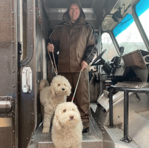 ups-dogs:The bbgb bookshop pups love their UPS man, Adis! Richmond, VA: ups-dogs:The bbgb bookshop pups love their UPS man, Adis! Richmond, VA