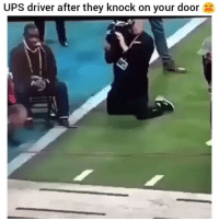 Funny, Ups, and Driver: UPS driver after they knock on your door I swear it always gets me 😂💀