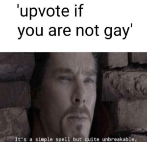 Funny, Quite, and Simple: upvote if  you are not gay'  It's a simple spell but quite unbreakable. Let's see if this works